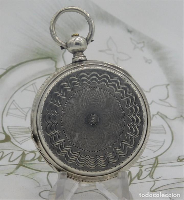 Relojes de bolsillo: CH.H. GROSCLAUDE-PRECIOSO RELOJ DE BOLSILLO SUIZO DE PLATA Y 15 RUBÍES-CIRCA 1880-FUNCIONANDO - Foto 5 - 165867250