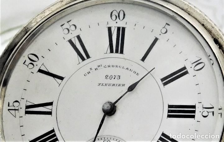 Relojes de bolsillo: CH.H. GROSCLAUDE-PRECIOSO RELOJ DE BOLSILLO SUIZO DE PLATA Y 15 RUBÍES-CIRCA 1880-FUNCIONANDO - Foto 6 - 165867250