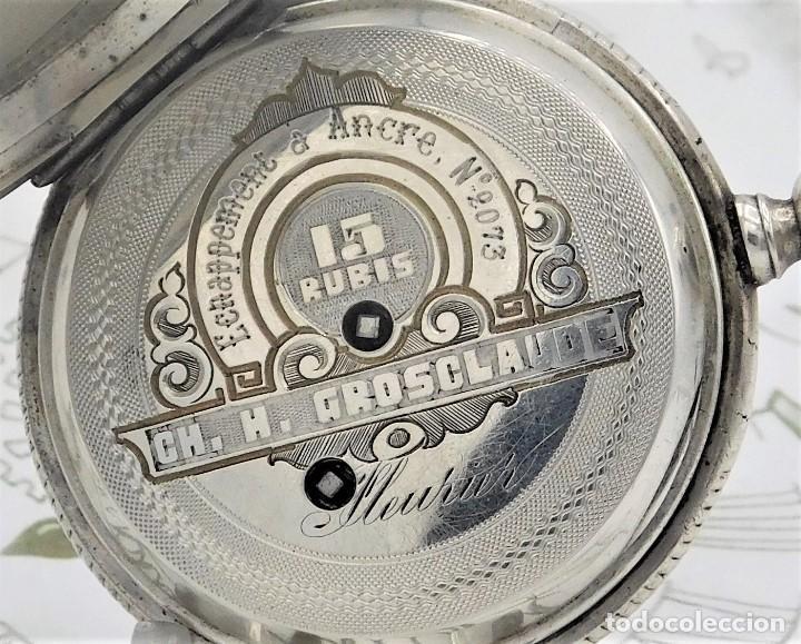 Relojes de bolsillo: CH.H. GROSCLAUDE-PRECIOSO RELOJ DE BOLSILLO SUIZO DE PLATA Y 15 RUBÍES-CIRCA 1880-FUNCIONANDO - Foto 7 - 165867250