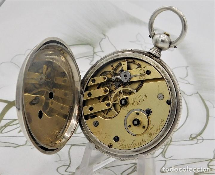 Relojes de bolsillo: CH.H. GROSCLAUDE-PRECIOSO RELOJ DE BOLSILLO SUIZO DE PLATA Y 15 RUBÍES-CIRCA 1880-FUNCIONANDO - Foto 8 - 165867250