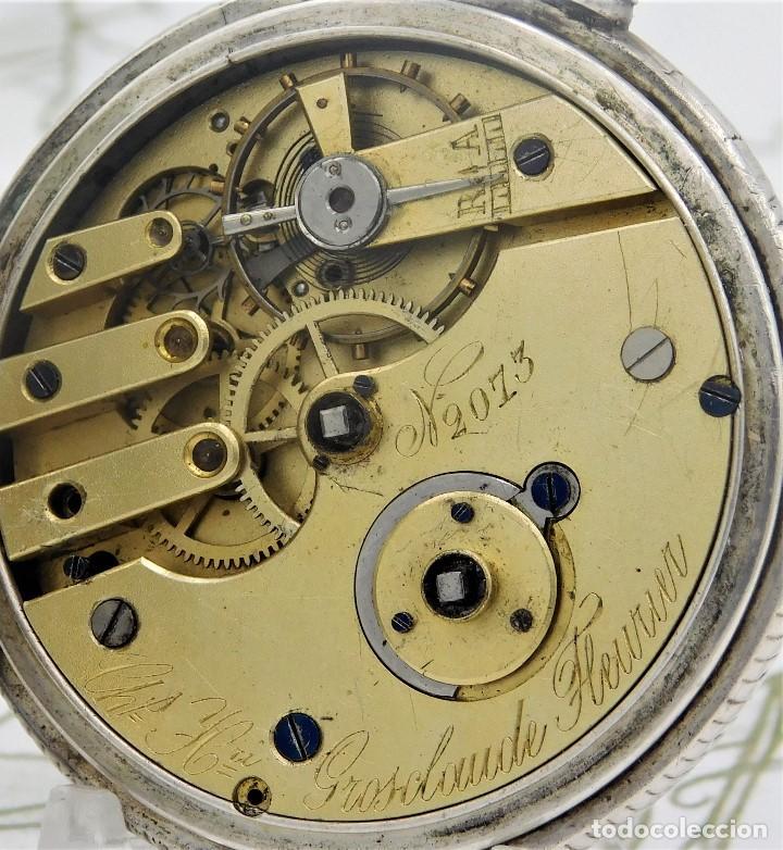 Relojes de bolsillo: CH.H. GROSCLAUDE-PRECIOSO RELOJ DE BOLSILLO SUIZO DE PLATA Y 15 RUBÍES-CIRCA 1880-FUNCIONANDO - Foto 9 - 165867250