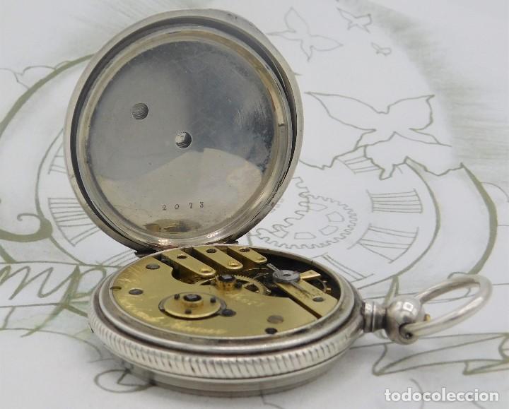 Relojes de bolsillo: CH.H. GROSCLAUDE-PRECIOSO RELOJ DE BOLSILLO SUIZO DE PLATA Y 15 RUBÍES-CIRCA 1880-FUNCIONANDO - Foto 10 - 165867250