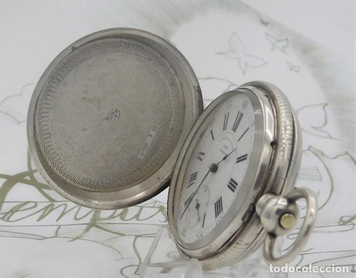 Relojes de bolsillo: CH.H. GROSCLAUDE-PRECIOSO RELOJ DE BOLSILLO SUIZO DE PLATA Y 15 RUBÍES-CIRCA 1880-FUNCIONANDO - Foto 11 - 165867250