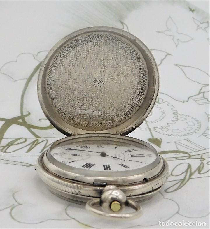 Relojes de bolsillo: CH.H. GROSCLAUDE-PRECIOSO RELOJ DE BOLSILLO SUIZO DE PLATA Y 15 RUBÍES-CIRCA 1880-FUNCIONANDO - Foto 12 - 165867250