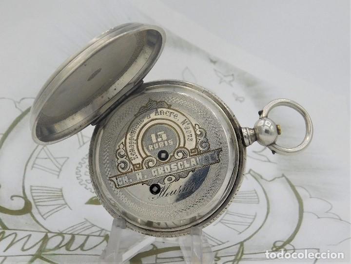 Relojes de bolsillo: CH.H. GROSCLAUDE-PRECIOSO RELOJ DE BOLSILLO SUIZO DE PLATA Y 15 RUBÍES-CIRCA 1880-FUNCIONANDO - Foto 13 - 165867250