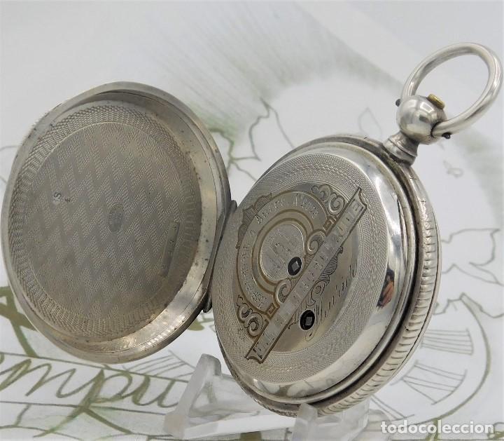 Relojes de bolsillo: CH.H. GROSCLAUDE-PRECIOSO RELOJ DE BOLSILLO SUIZO DE PLATA Y 15 RUBÍES-CIRCA 1880-FUNCIONANDO - Foto 14 - 165867250