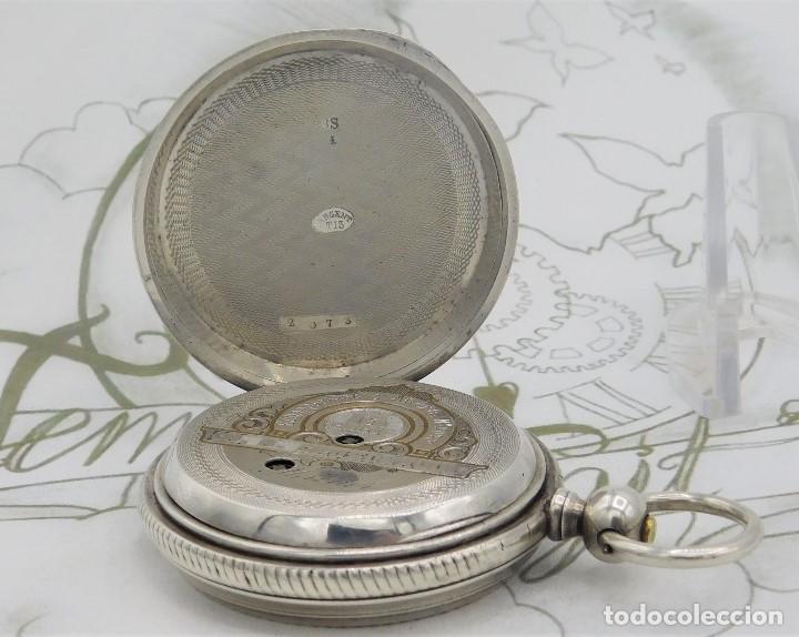 Relojes de bolsillo: CH.H. GROSCLAUDE-PRECIOSO RELOJ DE BOLSILLO SUIZO DE PLATA Y 15 RUBÍES-CIRCA 1880-FUNCIONANDO - Foto 15 - 165867250