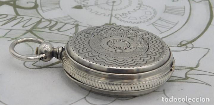 Relojes de bolsillo: CH.H. GROSCLAUDE-PRECIOSO RELOJ DE BOLSILLO SUIZO DE PLATA Y 15 RUBÍES-CIRCA 1880-FUNCIONANDO - Foto 17 - 165867250