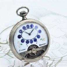 Relojes de bolsillo: HEBDOMAS-8 DÍAS-DE PLATA-CIRCA PRINCIPIO SIGLO XX-SUIZA-FUNCIONANDO. Lote 162932950