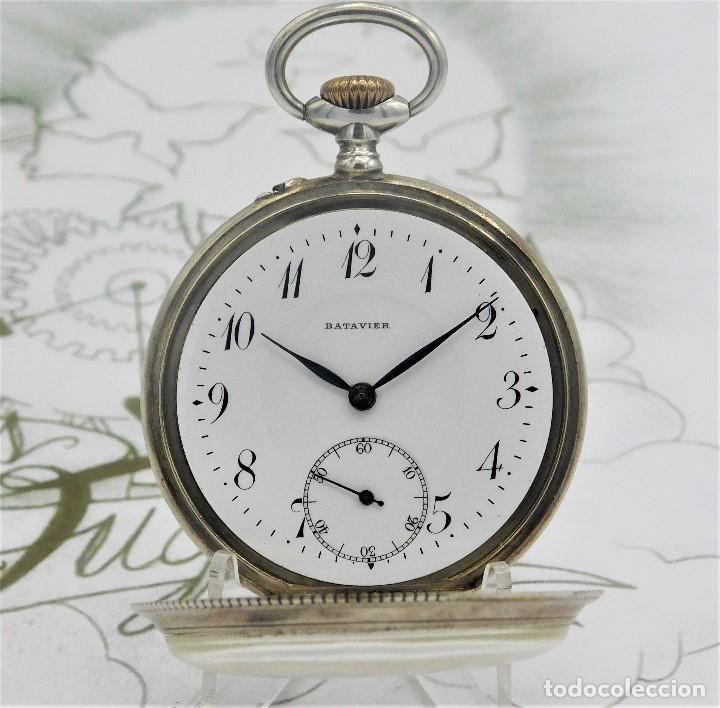 Relojes de bolsillo: BATAVIER-RARO RELOJ DE BOLSILLO ALEMÁN DE PLATA-CIRCA 1890-1900 -FUNCIONANDO - Foto 2 - 165882634
