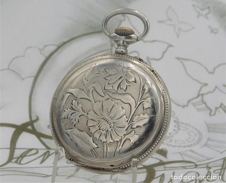 Relojes de bolsillo: BATAVIER-RARO RELOJ DE BOLSILLO ALEMÁN DE PLATA-CIRCA 1890-1900 -FUNCIONANDO - Foto 3 - 165882634