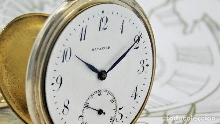 Relojes de bolsillo: BATAVIER-RARO RELOJ DE BOLSILLO ALEMÁN DE PLATA-CIRCA 1890-1900 -FUNCIONANDO - Foto 7 - 165882634
