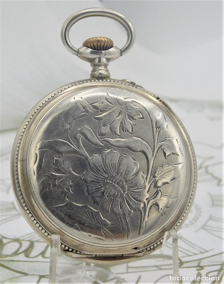 Relojes de bolsillo: BATAVIER-RARO RELOJ DE BOLSILLO ALEMÁN DE PLATA-CIRCA 1890-1900 -FUNCIONANDO - Foto 8 - 165882634
