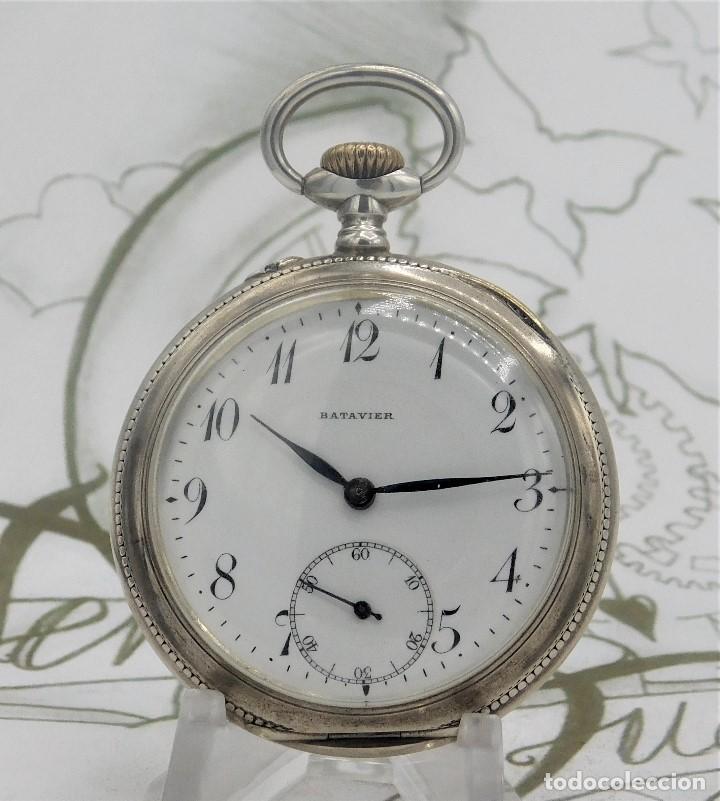 Relojes de bolsillo: BATAVIER-RARO RELOJ DE BOLSILLO ALEMÁN DE PLATA-CIRCA 1890-1900 -FUNCIONANDO - Foto 9 - 165882634