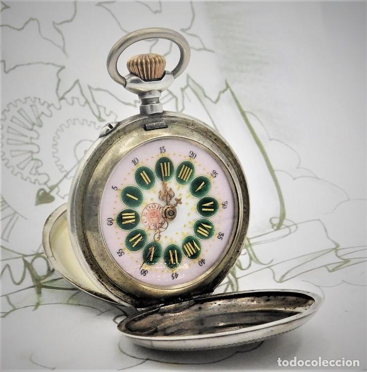 VENCEDOR 1ª- SUIZO-MUY RARO RELOJ DE BOLSILLO ROSKOPF SABONETA-DE PLATA-CIRCA 1910-1920 -FUNCIONANDO (Relojes - Bolsillo Carga Manual)