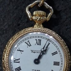 Relojes de bolsillo: RELOJ THERMIDOR DE CUERDA CON LEONTINA Y ESCENA EN PORCELANA. Lote 172820332