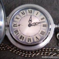Relojes de bolsillo: ANTIGUO RELOJ DE BOLSILLO RUSO DE LA MARCA MOLNIJA CON TAPA EN RELIEVE AÑOS 60 18 RUBIES. Lote 166165250