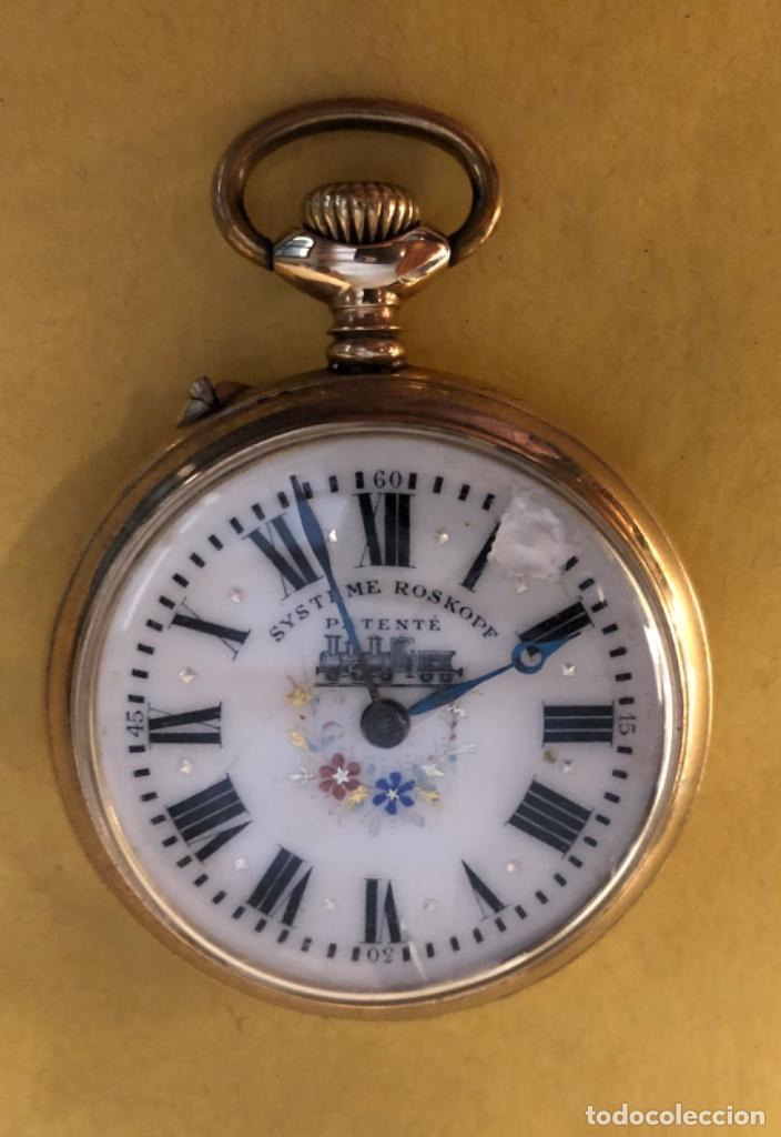 Relojes de bolsillo: Reloj de bolsillo Systeme Roskopf. 51mm Decoración ferroviaria. Funciona. - Foto 5 - 159039290