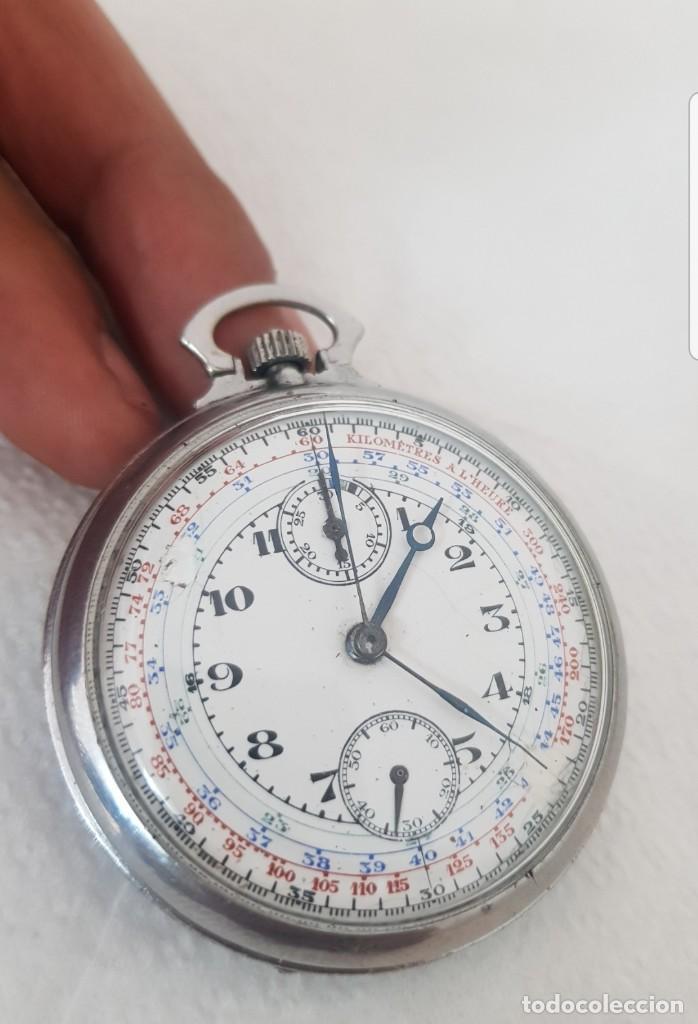 dac8c324f26b Reloj antiguo de bolsillo cronografo raro modelo detalles parte de atrás  funciona todo de colección -