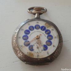 Relojes de bolsillo: RELOJ DE BOLSILLO DE PLATA LABRADA. Lote 166711830