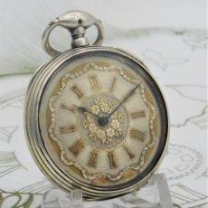 Relojes de bolsillo: PRECIOSO RELOJ DE BOLSILLO-DE PLATA-CIRCA 1850-FUNCIONANDO. Lote 166829622