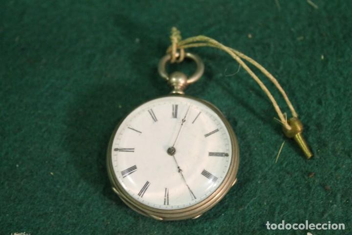 RELOJ, BOLSILLO, SIN MARCA, DE PLATA, TIENE LLAVE PARA DAR CUERDA (Relojes - Bolsillo Carga Manual)
