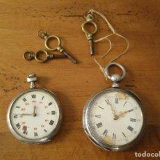 Relojes de bolsillo: ¡¡GRAN OFERTA !!!2 RELOJES DE BOLSILLO EN PLATA Y 3 LLAVES DE RELOJ BOLSILLO- LOTE 157. Lote 166918532