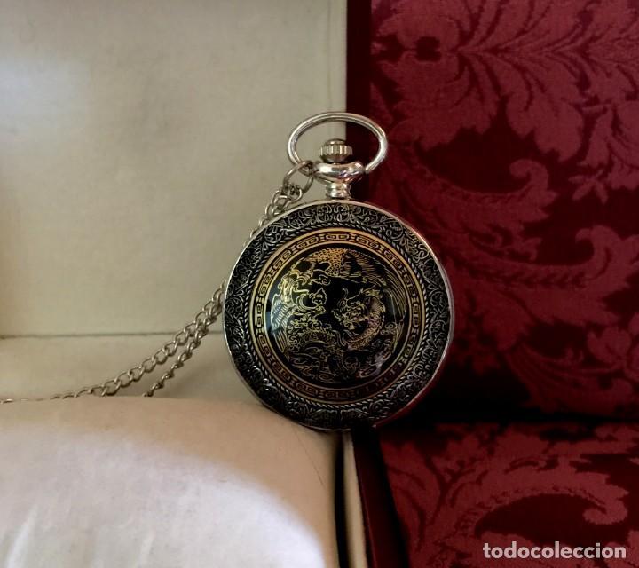 Relojes de bolsillo: RELOJ DE BOLSILLO CON GRABADO DRAGON Y AVE FENIX. - Foto 6 - 260686910