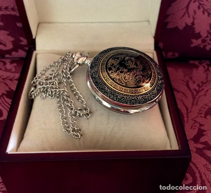 Relojes de bolsillo: RELOJ DE BOLSILLO CON GRABADO DRAGON Y AVE FENIX. - Foto 8 - 260686910