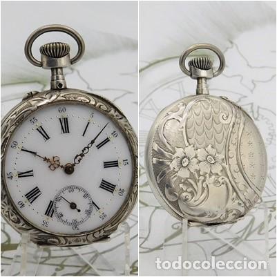 PRECIOSO RELOJ DE BOLSILLO REMONTOIR-DE PLATA-CIRCA 1900-3 TAPAS-FUNCIONANDO (Relojes - Bolsillo Carga Manual)