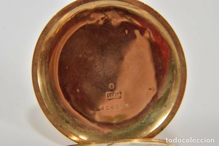 Relojes de bolsillo: ANTIGUO RELOJ BOLSILLO ORO MACIZO DE 18 QUILATES SABONETA funcionando perfecto - Foto 2 - 167761204