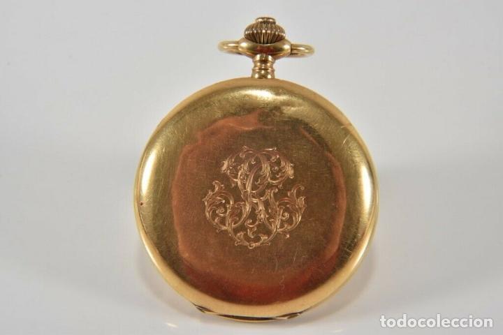 Relojes de bolsillo: ANTIGUO RELOJ BOLSILLO ORO MACIZO DE 18 QUILATES SABONETA funcionando perfecto - Foto 3 - 167761204