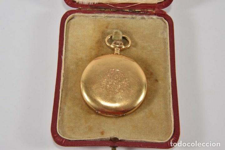 Relojes de bolsillo: ANTIGUO RELOJ BOLSILLO ORO MACIZO DE 18 QUILATES SABONETA funcionando perfecto - Foto 5 - 167761204