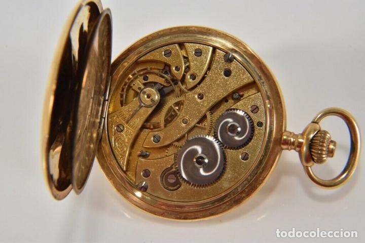 Relojes de bolsillo: ANTIGUO RELOJ BOLSILLO ORO MACIZO DE 18 QUILATES SABONETA funcionando perfecto - Foto 6 - 167761204