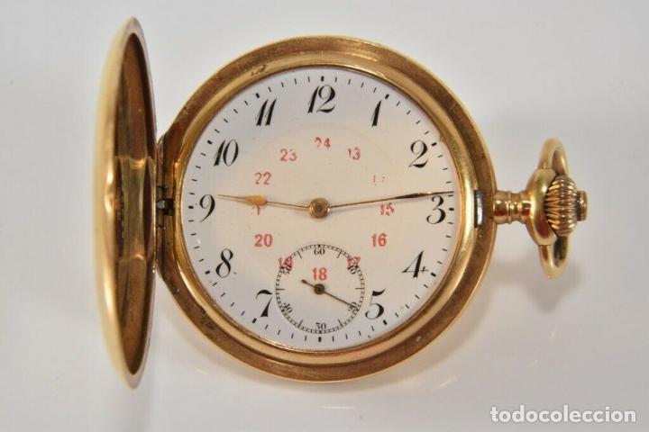 ANTIGUO RELOJ BOLSILLO ORO MACIZO DE 18 QUILATES SABONETA FUNCIONANDO PERFECTO (Relojes - Bolsillo Carga Manual)
