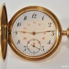 Relojes de bolsillo: ANTIGUO RELOJ BOLSILLO ORO MACIZO DE 18 QUILATES SABONETA 3 TAPAS FUNCIONANDO PERFECTO. Lote 167761204