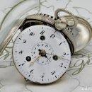Relojes de bolsillo: ¡DE MUSEO!! RARISIMO RELOJ DE BOLSILLO CON ALARMA -DE PLATA-CATALINO-1800-1838-FUNCIONANDO. Lote 167972532