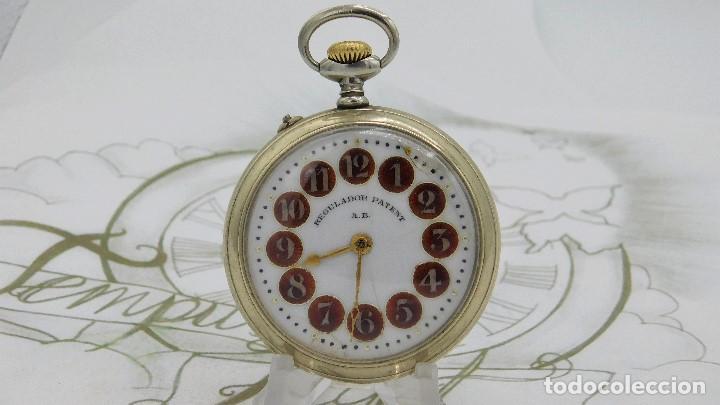 Relojes de bolsillo: REGULADOR PATENT-PRECIOSO RELOJ DE BOLSILLO ROSKOPF-CIRCA 1900 -FUNCIONANDO - Foto 10 - 168302120