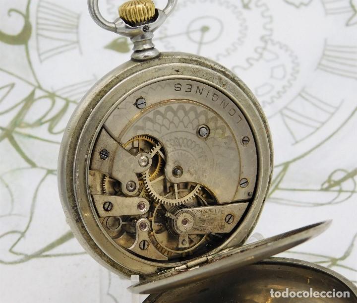 Relojes de bolsillo: LONGINES-RELOJ DE BOLSILLO-CIRCA 1908-15 RUBÍES-3 TAPAS-FUNCIONANDO - Foto 11 - 168305864