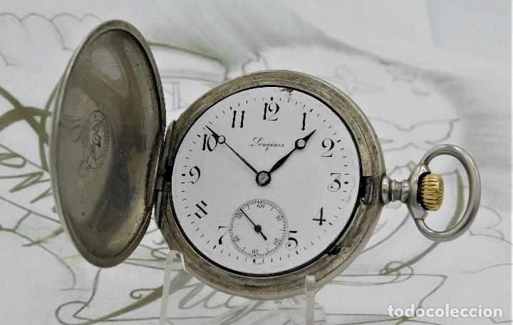 Relojes de bolsillo: LONGINES-RELOJ DE BOLSILLO-CIRCA 1908-15 RUBÍES-3 TAPAS-FUNCIONANDO - Foto 2 - 168305864