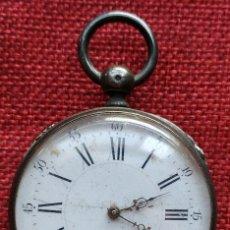 Relojes de bolsillo: RELOJ CYLINDRE 8 RUBIS - CAJA DE PLATA 800 MILESIMAS - ESFERA PORCELANA - FINALES XIX - SIN LLAVE. Lote 168324188