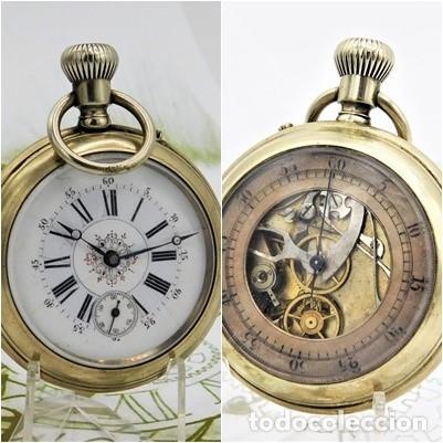 MUY RARO RELOJ DE BOLSILLO DOBLE CARA-CRONOGRAFO-REMONTOIR-CIRCA 1900-FUNCIONANDO (Relojes - Bolsillo Carga Manual)