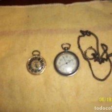 Relojes de bolsillo: LOTE DE 2 RELOJES Y 1 CADENA- DIAMETROS 30 Y 40 MM- A REVISAR. Lote 168591336