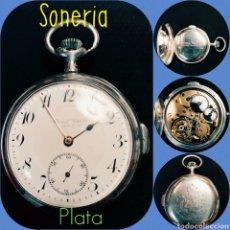 Relojes de bolsillo: RELOJ BOLSILLO PLATA, SONERÍA HORAS Y CUARTOS, 1900,FUNCIONANDO. Lote 168739309