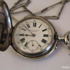 Relojes de bolsillo: RELOJ DE PLATA IGNACIO VILLANUEVA 3 TAPAS REMONTOIR ANCRE LIGNE DROITE CON CADENA DE PLATA. Lote 169366054