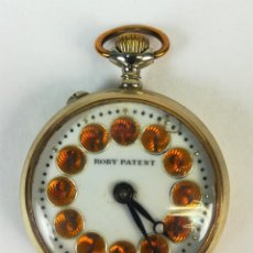 Relojes de bolsillo: RELOJ DE BOLSILLO. ROBY PATENT. CAJA DE METAL DORADO. SIGLO XX. SUIZA. Lote 169408592
