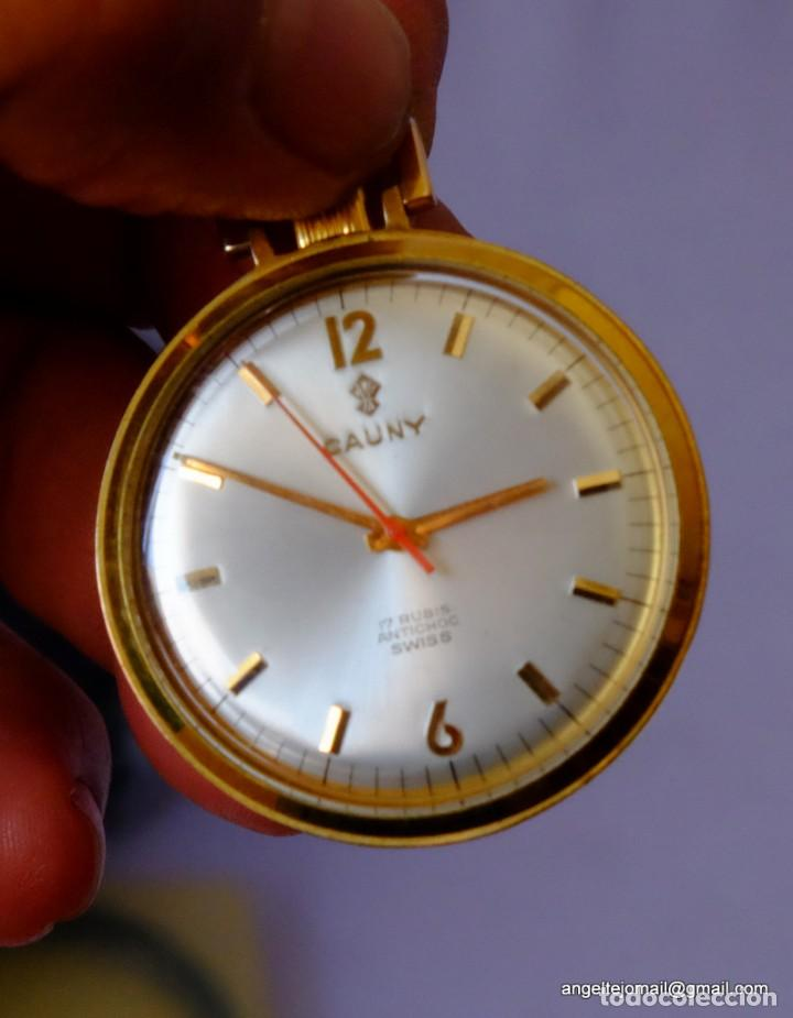 Relojes de bolsillo: Reloj de bolsillo Cauny, Chapado en oro.NUEVO.! - Foto 4 - 169410012