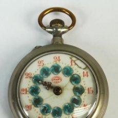 Relojes de bolsillo: RELOJ DE BOLSILLO. CAJA DE METAL NIQUELADO. EL CASTILLO C.E.L. SIGLO XX. . Lote 169476332