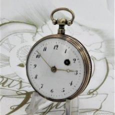Relojes de bolsillo: ANTIGUO RELOJ DE BOLSILLO CATALINO Y RUEDA DE CARACOL-DE PLATA-SIGLO XVIII -FUNCIONANDO. Lote 169606496