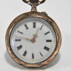 Relojes de bolsillo: ANTIGUO RELOJ DE BOLSILLO EN PLATA DE LEY PRECIOSA ESFERA CERAMICA FUNCIONANDO . Lote 169834072